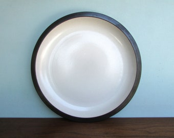 "14"" Edith Heath Pottery of California, Brown & White Rim Line, Large Charger , American Modern Design"