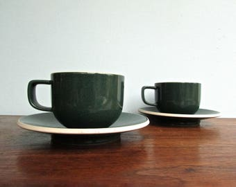 Sasaki Colorstone Vellum Green, 2 Cups & Saucers by Massimo and Lela Vignelli