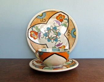 Joy Nash Ford Hand Painted Art Nouveau 1930s Revival Low Fired Luncheon Set, Curvy Design in Peach & Turquoise, Signed and Dated 1937