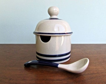 Niels Refsgaard Dansk Blue Mist Vintage Jam or Jelly Jar, Sugar-Bowl, Must Have Accessory For a Complete Dansk Table