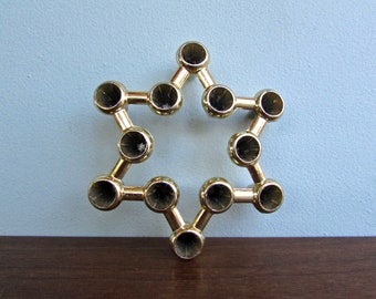 Star of David Tiny Taper Gold-Toned Cast Aluminum Candleholder in the Style of Jens Quistgaard for Dansk IHQ