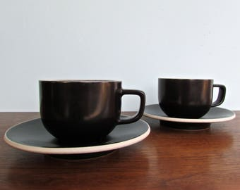 Sasaki Colorstone Vellum Black, 2 Cups & Saucers (2 Sets Available) by Massimo and Lela Vignelli
