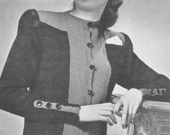 Medium extra large etsy vintage 1940s smooth figuring sweater knitting pattern pdf 4515 bust 36 38 40 42 44 46 size s m l xl small medium extra large fandeluxe Choice Image