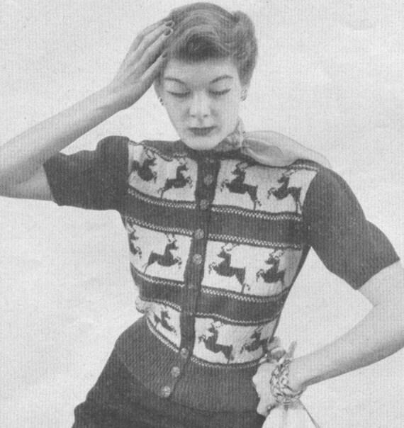 Vintage 1950s Jumper Sweater Stag Reindeer Adorned Cardigan Etsy