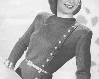 Vintage 1940s Jumper Sweater Knitting Pattern Something on the Side PDF 4518 Buttons Size XS S M L Extra Small Medium Large Bust 32 34 36 38