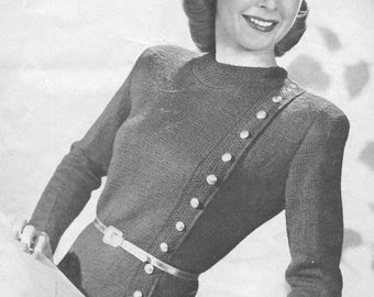 Vintage 1940s smooth figuring sweater knitting pattern pdf vintage 1940s jumper sweater knitting pattern something on the side pdf 4518 buttons size xs s m l fandeluxe Choice Image