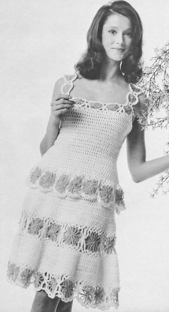 Vintage 1970s Dress 70s Daisy Chemise Dress Crochet Pattern   Etsy