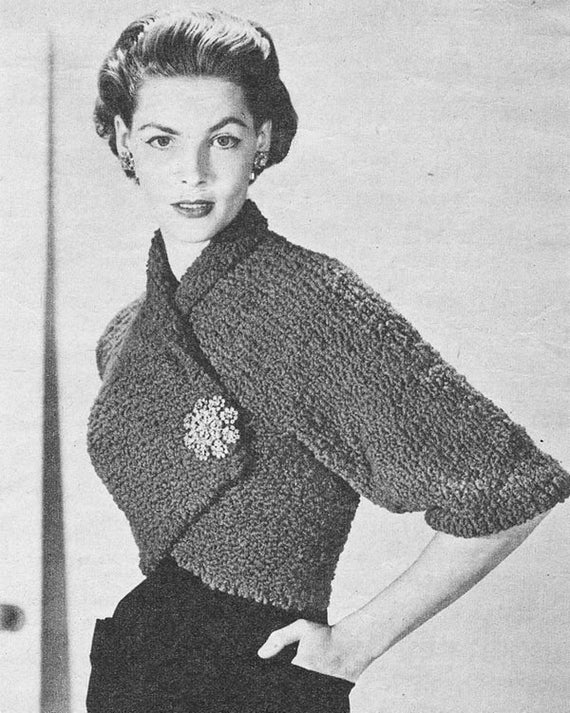 Vintage 1950s Wrap Over Shrug Knitting Pattern Pdf 5205 Etsy