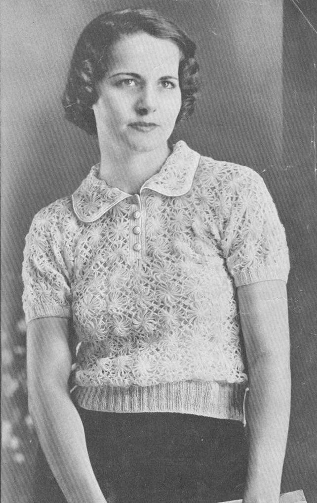 Vintage 1930s Blouse Sweater Jumper Daisy Knit Knitter Pattern   Etsy