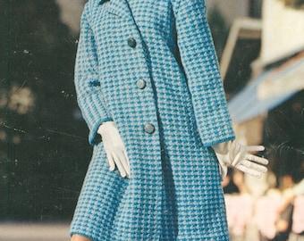 Jaunty Vintage 1960s MOD Houndstooth Coat Knitting Pattern PDF 6609