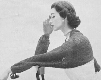 1950s Crochet Lacy Shrug Shoulderette Sleeve Scarf Pattern PDF 5001