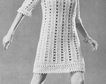 Vintage 1960s boho dress hipster knitted houndstooth tunic vintage 1960s boho mini dress pattern pdf 6712 crochet lace hippie 60s bust 32 34 36 38 size xs s m l coachella extra small medium large fandeluxe Gallery