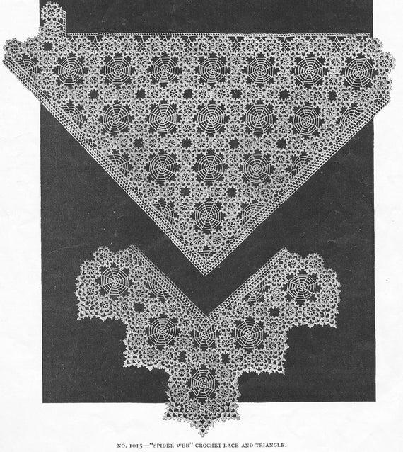 Antique 1916 Spiderweb Crochet Lace Pattern Spider Web Trim Etsy