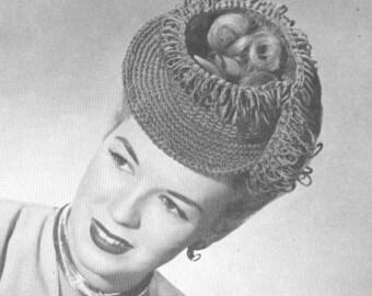 Vintage 1940s Crochet Fringe on Tap Hat Pattern PDF 4609