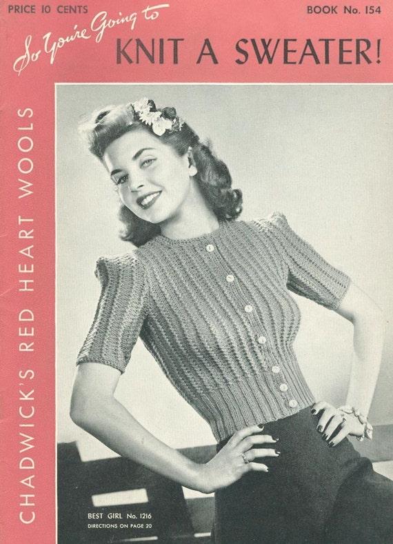 Vintage 1940 Sweater 14 Knitting Patterns E Book Pdf Patterns Etsy