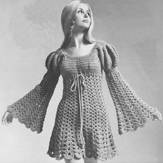 Vintage 1960s Juliet Dress Hippie Ren Faire Crochet Pattern Etsy