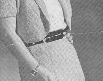 1940s Two Piece Knitted Bolero Skirt Dress Vintage Pattern PDF 4705