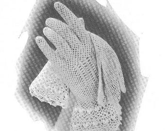 Vintage 1930s Crochet Gloves with Irish Cuffs Pattern Art Deco Wedding Bride Bridal PDF 3505