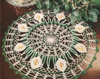 Vintage 1950s Cala Lilly Ruffled Doily Crochet Pattern PDF 5303