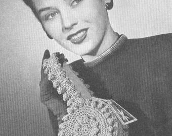 Vintage 1940s Crochet Band Box Small Handbag Pattern PDF 4603 Plus 4601