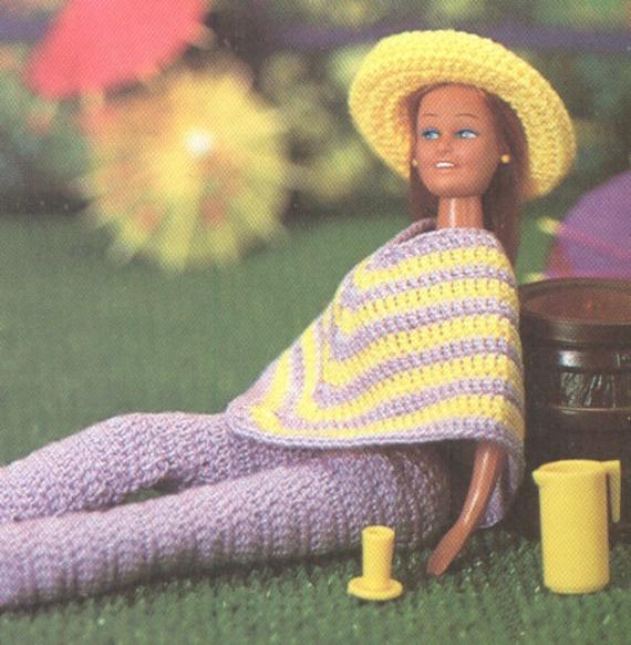 Vintage Barbie Poncho Pants Hat Crochet Pattern Pdf 8306 Etsy