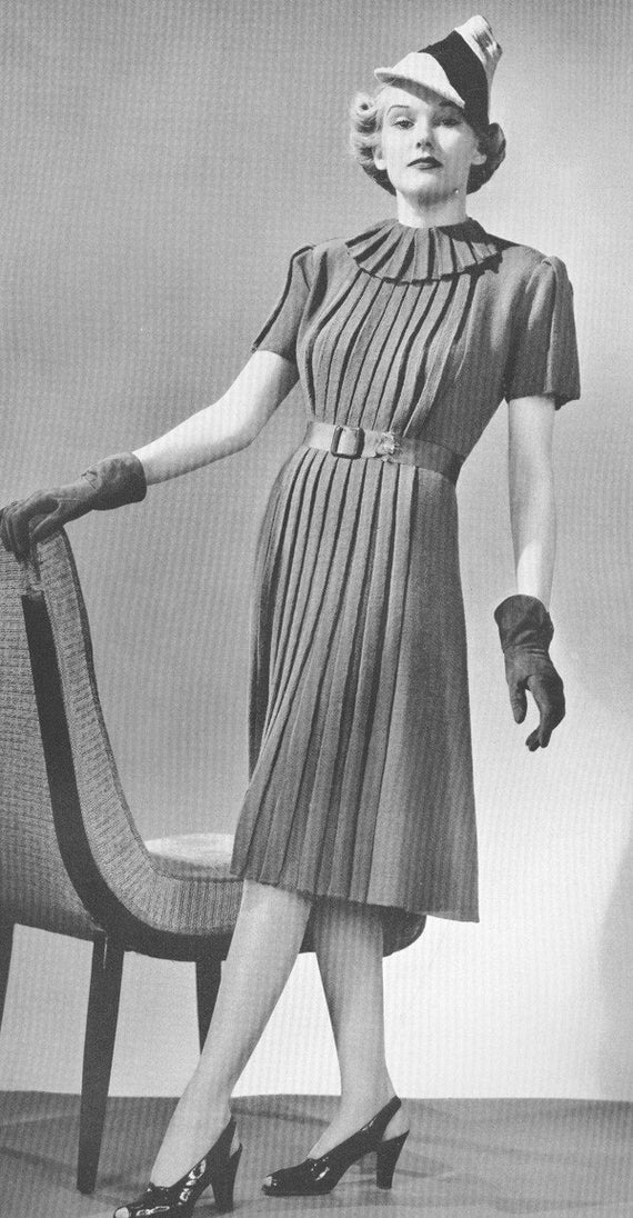 1930s Knitted Pleated Vintage Town Dress Pattern Art Deco ...