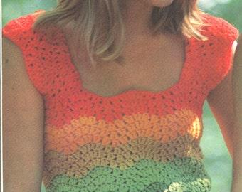 Vintage 1970s Rainbow Crochet Top Pattern PDF 7422 Hippie Boho Beach Sweater Jumper