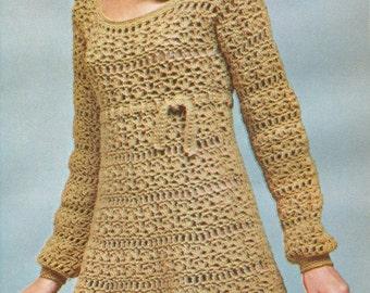 Vintage 1960s Empire Dress with Scoop Neck Crochet Pattern PDF 6902