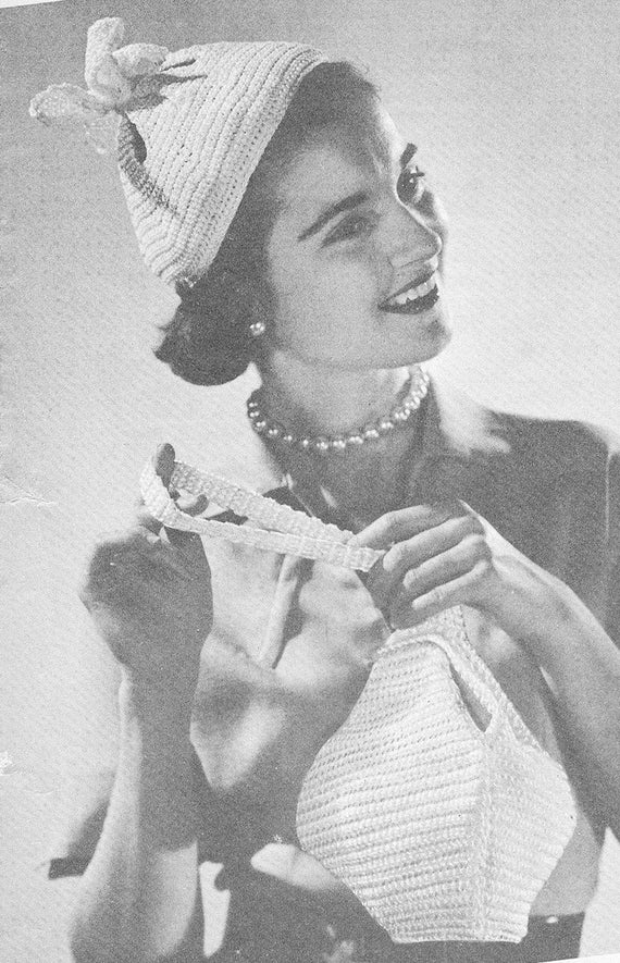 Vintage 1950s Pixie Hat and Bag Set Crochet Pattern PDF 5401   Etsy