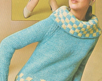 Vintage 1960s Cowl Neck Checked Pullover Sweater with Muff Pocket Knitting Pattern PDF 6715