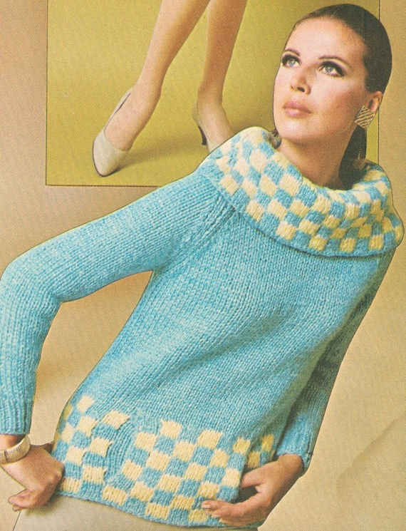 Vintage 1960s Cowl Neck Checked Pullover Sweater With Muff Etsy