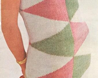 Vintage 1960s Dress Big Triangle Wedge Sheath Knitting Pattern PDF 6511 Geometric Harlequin Design Size 12 14 16 Bust 32 34 36 S M L Small