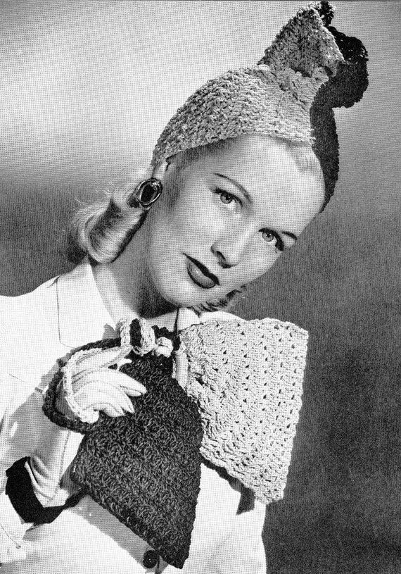 Vintage 1940s Crochet Jesters Hat and Bag Pattern PDF 4502   Etsy