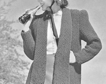 Vintage 1930s Coat Tuxedo Knitting Pattern PDF 3930 Size S Small Bust 34 Box Style Art Deco Jacket 30s Thirties Knit
