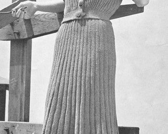 Vintage 1930s Lumber Jacket and Skirt Knitting Pattern PDF 3924