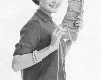 Vintage 1940s smooth figuring sweater knitting pattern pdf vintage 1950s blouson back cardigan sweater knitting pattern pdf 5801 fandeluxe Choice Image