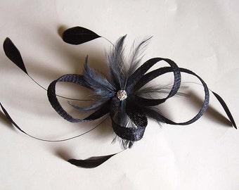df6841beff5ef Small navy sinamay fascinator clip - bridesmaids hair clip - sinamay hair  clip