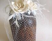 Ivory double silk rose bridal  birdcage veil  - ivory wedding veil - silk rose veil