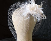 White detachable cage veil with silk rose comb - wedding face veil - bridal tulle veil