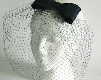 Navy taffeta bow veil - retro bow bridal veil - blue bridesmaid veil
