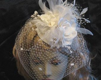 Ivory bridal cocktail hat- ivory silk rose retro hat - silk flower custom wedding hat