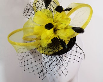 Yellow and black cocktail hat - ascot yellow fascinator - yellow feather mini hat