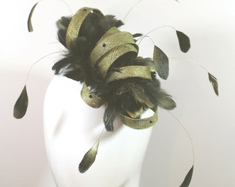 gold and black sinamay fascinator - gold headpiece - Derby fascinator