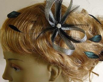 Bridal silver sinamay bridal fascinator -  bridesmaids and mother of the bride hair clip