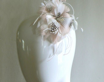 Blush feather bridal pin - pink feather clip - pink and ivory feather flower