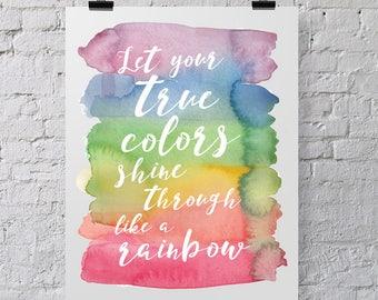 True Colors Rainbow Print / Nursery Art / Kids Room Art / Wall Art / Trolls Party - 8x10