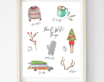 Favourite Winter Things / Christmas Watercolour Art / 8x10 Printable / Digital Print