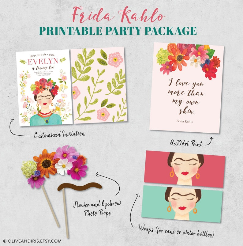 Frida Kahlo Printable Party Package / Cinco de Mayo Printable image 0