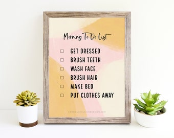Kids Morning To Do List / Functional Art / Reminders for Kids / 5x7 Printable / Digital Print