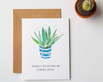 Teacher Thank You Card / Plant Thank You Notecard